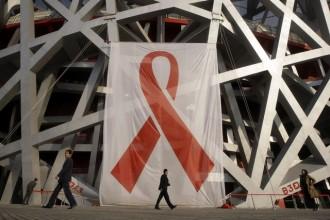 Le nid d'oiseau décoré à la l'occasion d'une journée mondiale contre le SIDA